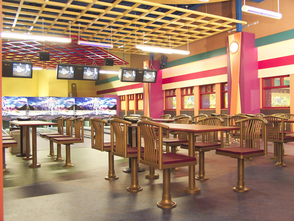 Highway 66 mini bowling area tables